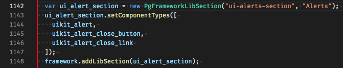 screenshot of alerts PgFrameworkLibSection