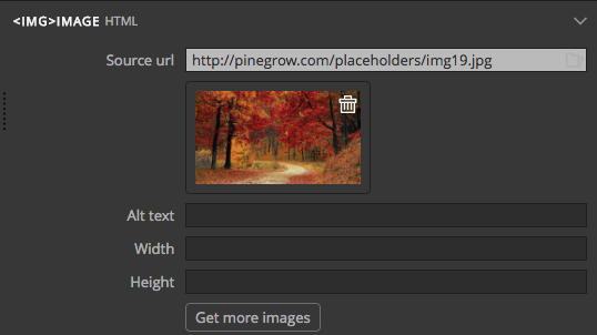 Pinegrow 'image' picker